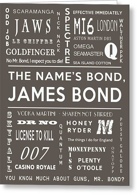 Secret Agent Greeting Cards - The names Bond in Grey Greeting Card by Nomad Art And  Design
