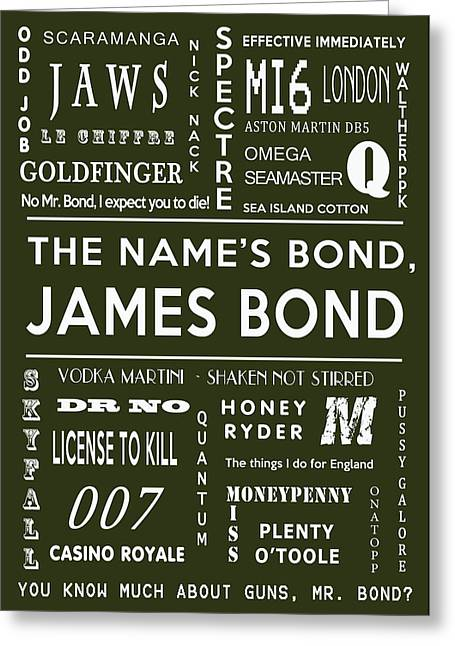 Secret Agent Greeting Cards - The names Bond in Khaki Greeting Card by Nomad Art And  Design