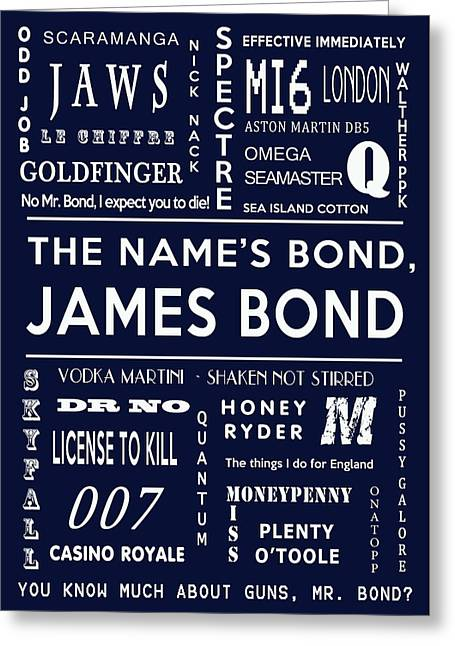 Secret Agent Greeting Cards - The names Bond in Navy Greeting Card by Nomad Art And  Design