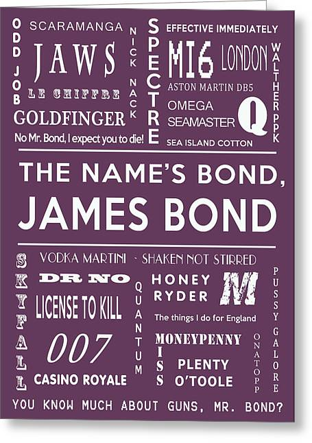 Secret Agent Greeting Cards - The names Bond in Purple Greeting Card by Nomad Art And  Design
