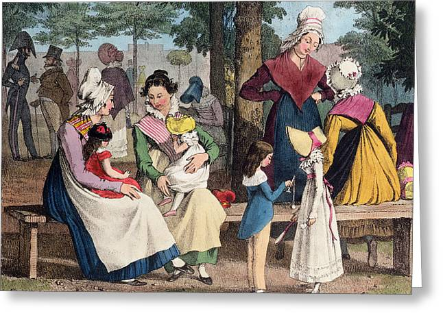 Gossiping Greeting Cards - The Nannies, 1820 Colour Litho Greeting Card by John James Chalon