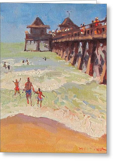 Dianne Panarelli Miller Greeting Cards - The Naples Pier Greeting Card by Dianne Panarelli Miller