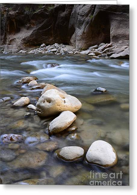 Sacred Earth Greeting Cards - The Narrows One Step At A Time Greeting Card by Bob Christopher