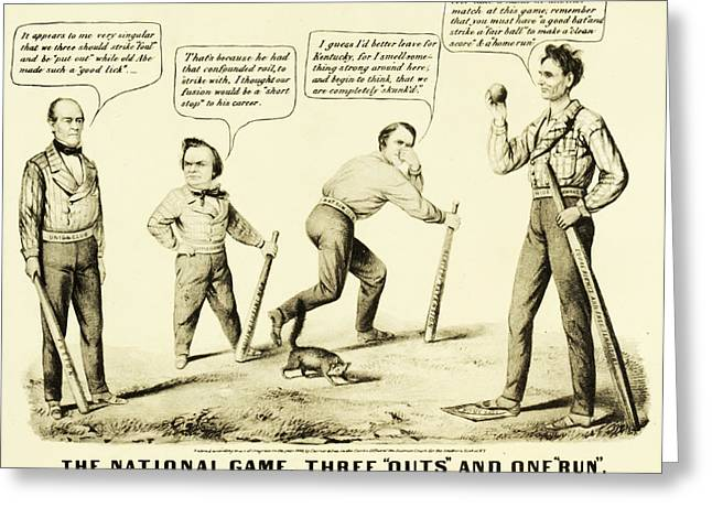 Slavery Greeting Cards - The National Game - Abraham Lincoln Plays Baseball Greeting Card by Digital Reproductions