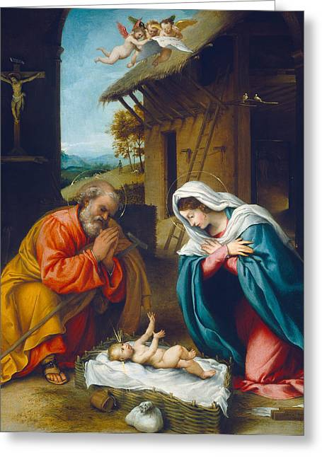 Boy Praying Greeting Cards - The Nativity 1523 Greeting Card by Lorenzo Lotto
