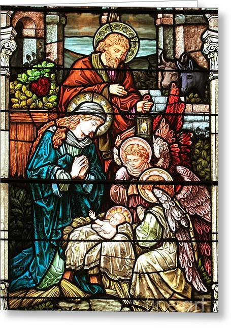 Biblical Scene Greeting Cards - The Nativity Greeting Card by Adam Jewell