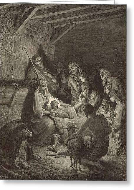 Adonai Greeting Cards - The Nativity Greeting Card by Antique Engravings