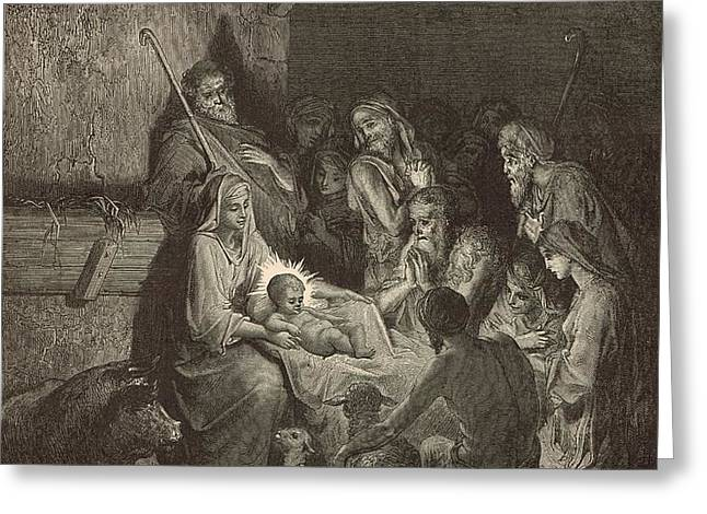 The Nativity Greeting Card by Antique Engravings