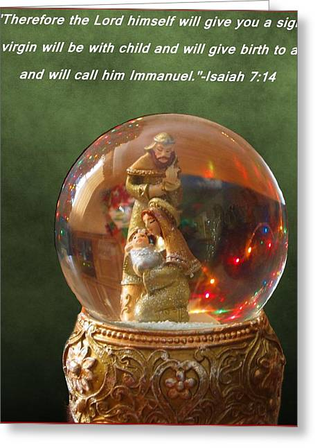 Snow Globe Greeting Cards - The Nativity - Isaiah 7 14 Greeting Card by Dan Sproul