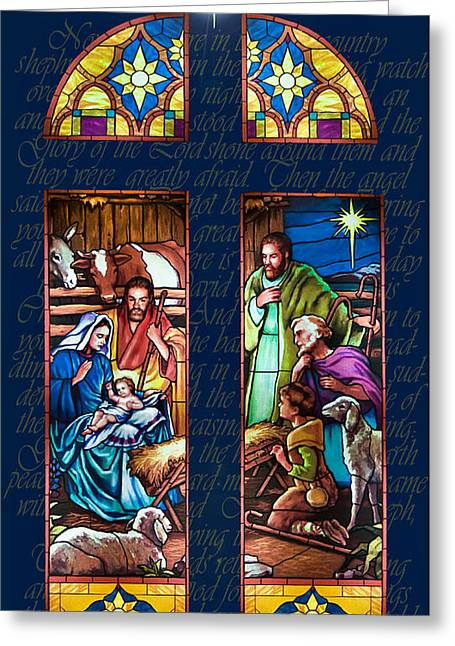 Stained Glass Pastels Greeting Cards - The Nativity Greeting Card by Jean Hildebrant