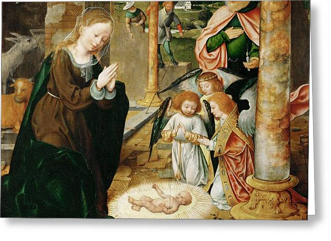 Cleves Greeting Cards - The Nativity Greeting Card by Joos van Cleve