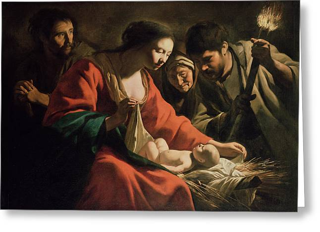 Chiaroscuro Greeting Cards - The Nativity Greeting Card by Le Nain