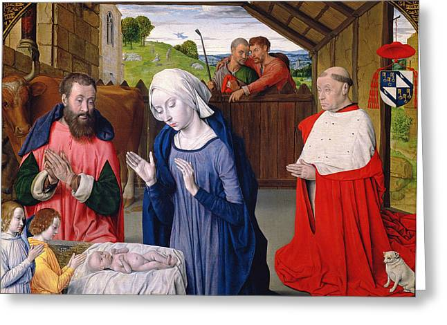 Coat Of Arms Greeting Cards - The Nativity Of Cardinal Rolin Oil On Panel Greeting Card by Master of Moulins