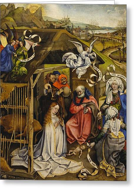 1420 Greeting Cards - The Nativity Greeting Card by Robert Campin