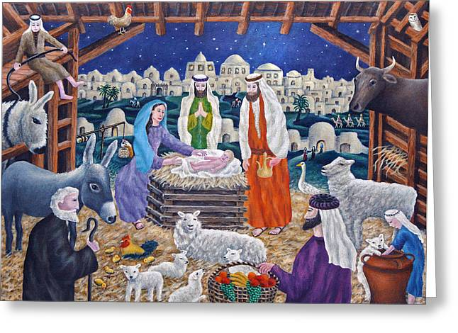 Sheep Greeting Cards - The Nativity Greeting Card by Ronald Haber