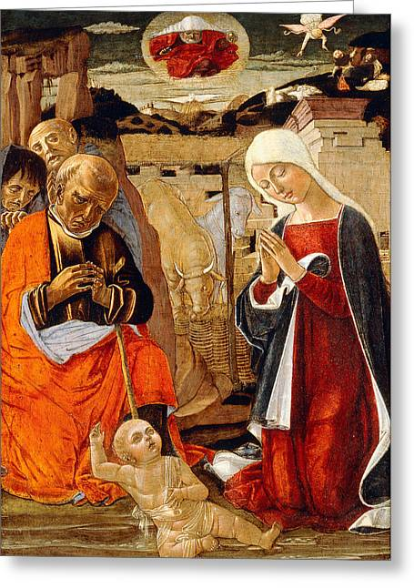 Old Masters Greeting Cards - The Nativity with the Annunciation to the Shepherds in the Distance Greeting Card by Benvenuto di Giovanni