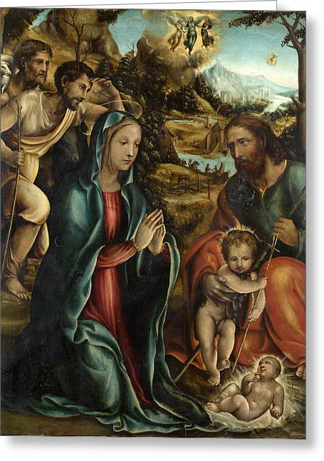 The Followers Greeting Cards - The Nativity with the Infant Baptist and Shepherds Greeting Card by Follower of Sodoma