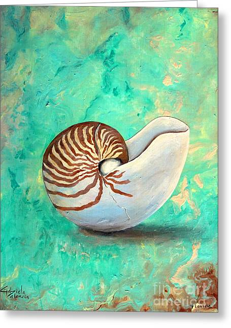 Seashell Picture Paintings Greeting Cards - The Nautilus Greeting Card by Gabriela Valencia