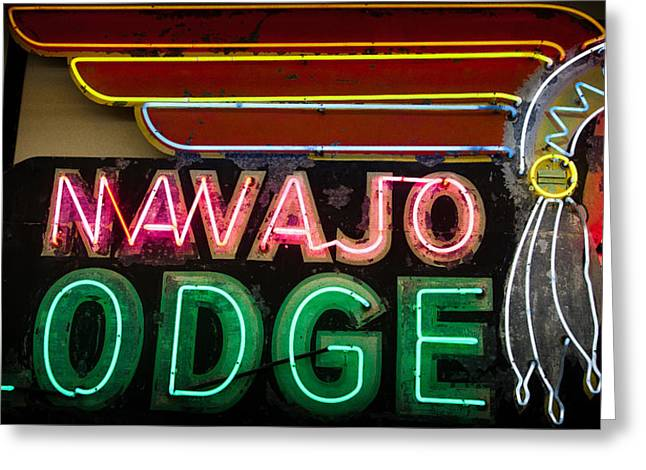 Florescent Lights Greeting Cards - The Navajo Lodge Sign in Prescott Arizona Greeting Card by David Patterson