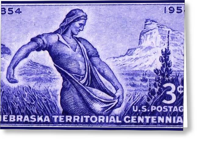 Pioneer Scene Paintings Greeting Cards - The Nebraska Territory stamp Greeting Card by Lanjee Chee