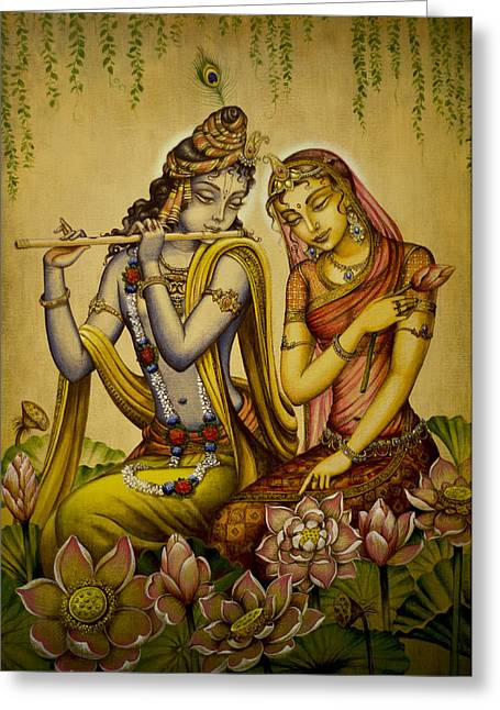 Indian Art Greeting Cards - The nectar of Krishnas flute Greeting Card by Vrindavan Das