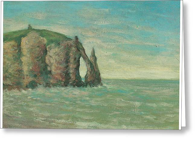 Cliffs Over Ocean Greeting Cards - The Needle at Etretat Greeting Card by Claude Emile Schuffenecker