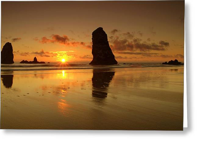 Ocean Images Greeting Cards - The Needles At Haystack - Cannon Beach Sunset  Greeting Card by Brian Harig