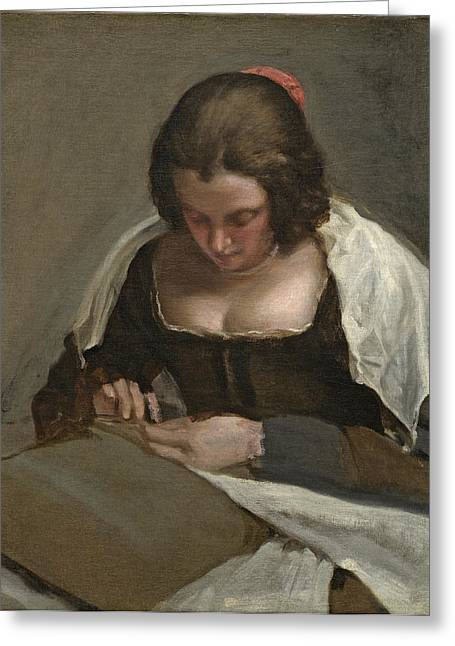 Femme Greeting Cards - The Needlewoman, C.1640-50 Greeting Card by Diego Rodriguez de Silva y Velazquez