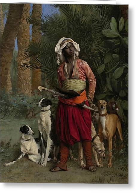 Negroes Paintings Greeting Cards - The Negro Master of the Hounds Greeting Card by Jean-Leon Gerome