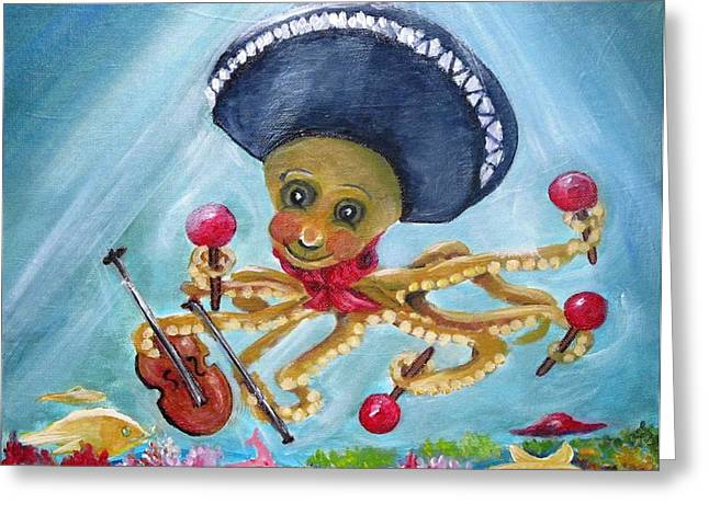 The Neptunes -- Octoband Greeting Card by Carol Allen Anfinsen