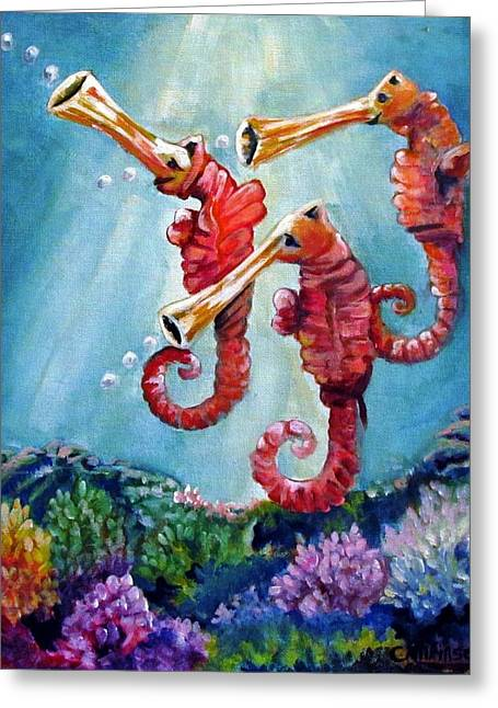 The Neptunes -- Trumpeteers Greeting Card by Carol Allen Anfinsen