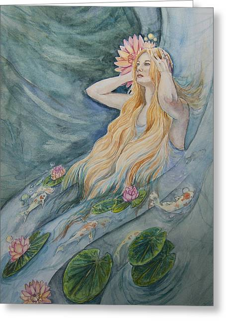 Flowing Blonde Hair Greeting Cards - The Nereid Greeting Card by Sarah Job