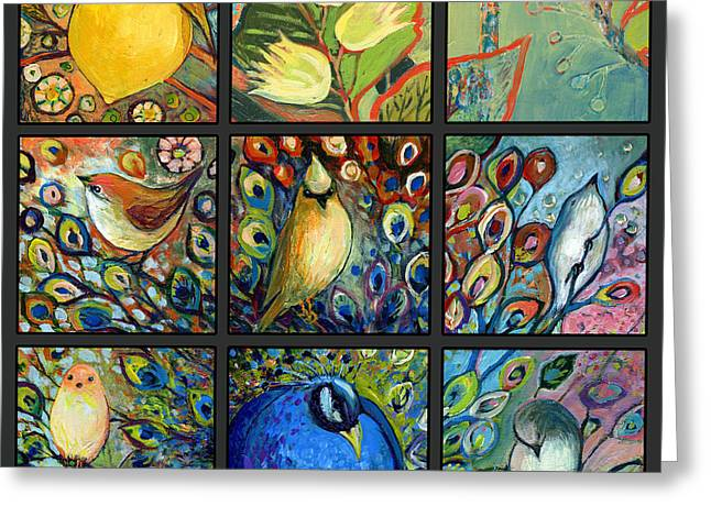 Peacocks Greeting Cards - The NeverEnding Story Set of 9c Greeting Card by Jennifer Lommers