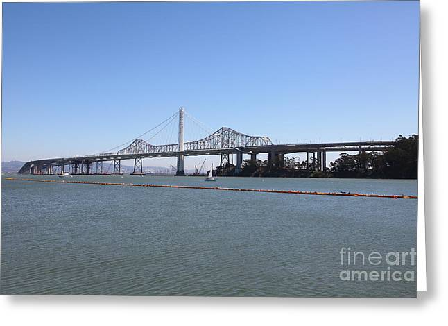 Yerba Beuna Island Greeting Cards - The New And The Old Bay Bridge San Francisco Oakland California 5D25359 Greeting Card by Wingsdomain Art and Photography