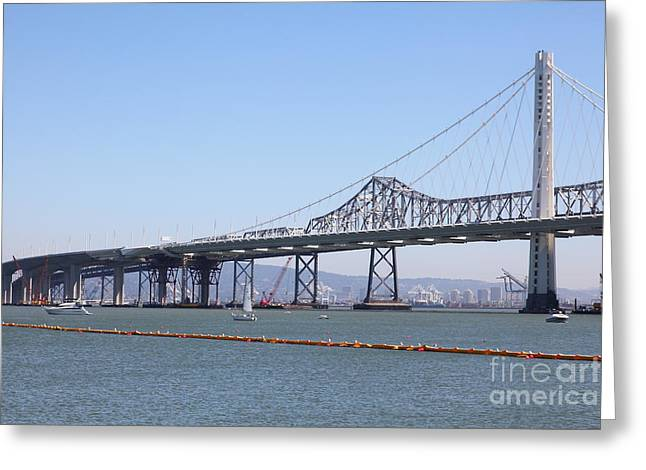 Yerba Beuna Island Greeting Cards - The New And The Old Bay Bridge San Francisco Oakland California 5D25364 Greeting Card by Wingsdomain Art and Photography