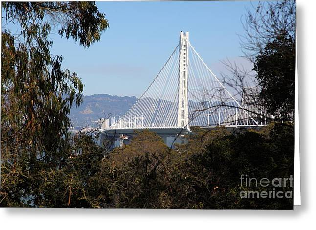 Yerba Beuna Island Greeting Cards - The New And The Old Bay Bridge San Francisco Oakland California 5D25398 Greeting Card by Wingsdomain Art and Photography
