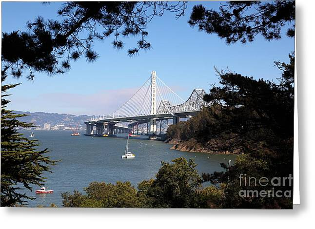Yerba Beuna Island Greeting Cards - The New And The Old Bay Bridge San Francisco Oakland California 5D25404 Greeting Card by Wingsdomain Art and Photography