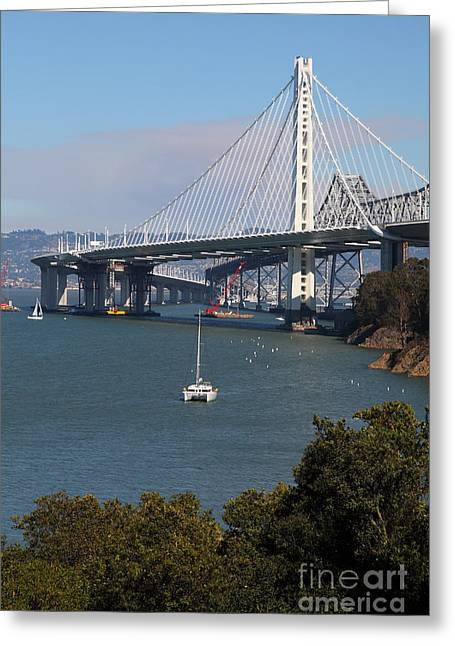Yerba Beuna Island Greeting Cards - The New And The Old Bay Bridge San Francisco Oakland California 5D25409 Greeting Card by Wingsdomain Art and Photography