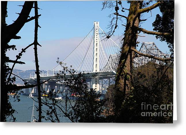 Yerba Beuna Island Greeting Cards - The New And The Old Bay Bridge San Francisco Oakland California 5D25415 Greeting Card by Wingsdomain Art and Photography
