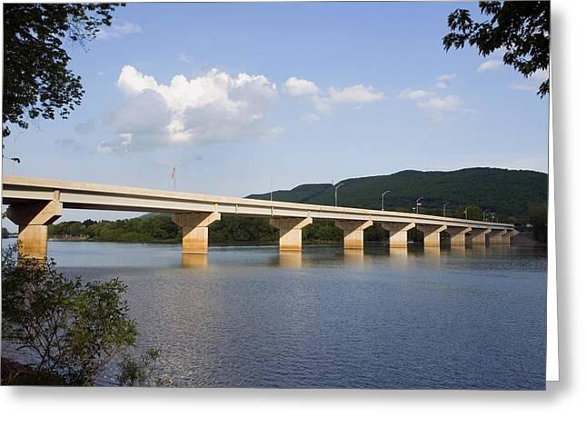 The New Arch Street Bridge Greeting Card by Gene Walls