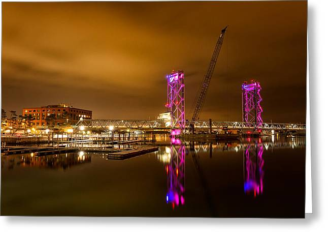 Boats At Dock Greeting Cards - The New Memorial Bridge At Night Greeting Card by Jeff Sinon
