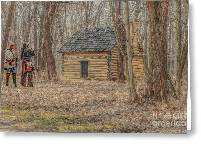 Log Cabin Interiors Greeting Cards - The New Neighbors Greeting Card by Randy Steele