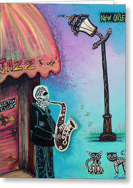 The New Orleans Skeleton Club Greeting Card by Laura Barbosa