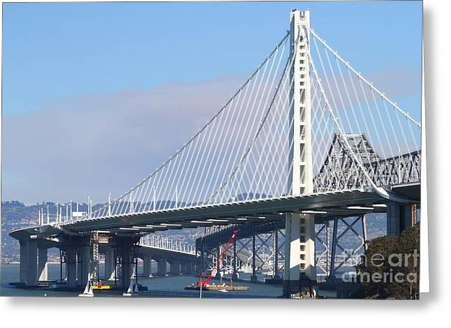 Bay Bridge Greeting Cards - The New San Francisco Oakland Bay Bridge 7D25464 Greeting Card by Wingsdomain Art and Photography