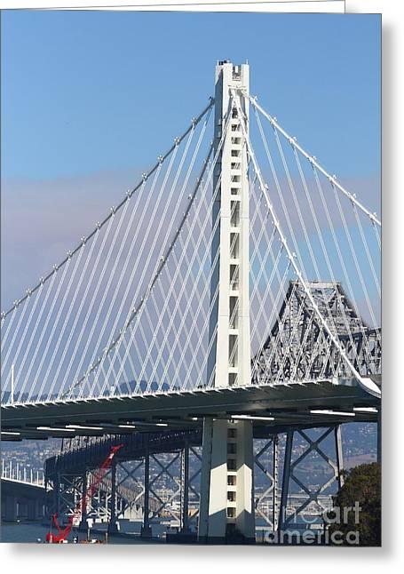 Yerba Beuna Island Greeting Cards - The New San Francisco Oakland Bay Bridge 7D25468 Greeting Card by Wingsdomain Art and Photography