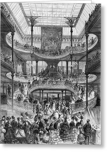 Shopper Greeting Cards - The New Staircase In Au Bon Marche, From Le Monde Illustre, C.1875 Engraving Bw Photo Greeting Card by Frederic Lix