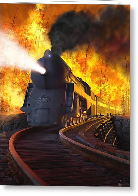 Forest Fire Greeting Cards - The New York Central Greeting Card by Gary Hanna