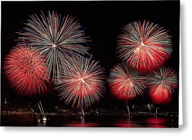 July 4th Photographs Greeting Cards - The New York City Skyline All Lit Up Greeting Card by Susan Candelario