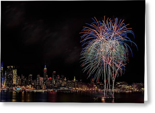Fire Works Greeting Cards - The New York City Skyline Sparkles Greeting Card by Susan Candelario