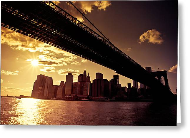 Liberty Building Greeting Cards - The New York City Skyline - Sunset Greeting Card by Vivienne Gucwa